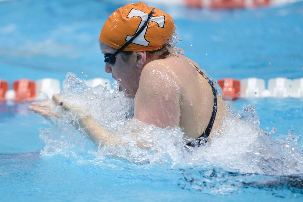 KNOXVILLE, TN - December 5, 2013 - Holly Hannis competes in the 4x100 Yard Medley Relay during the USA Swimming AT&T Winter National Championships at the Allan Jones Aquatic Center in Knoxville, Tennessee
