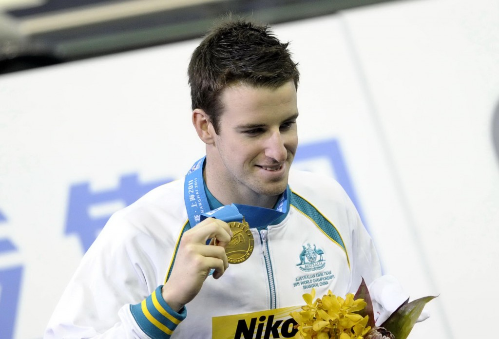 July 28, 2011; Shanghai, CHINA; James Magnussen (AUS) poses with his gold medal after winning the men's 100m freestyle final at the 14th FINA World Championships. Mandatory Credit: OSports via USA TODAY Sports