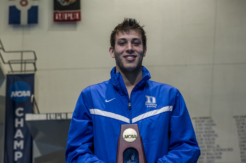 Nick McCrory wins the platform diving event.