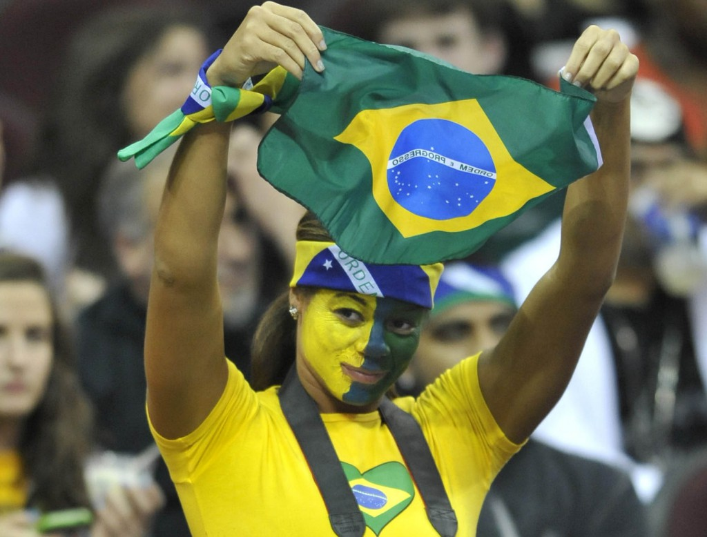 Nov 21, 2012; Cleveland, OH, USA; A fan holds up the national flag of Brazil during a game between the Philadelphia 76ers and the Cleveland Cavaliers at Quicken Loans Arena. Mandatory Credit: David Richard-USA TODAY Sports