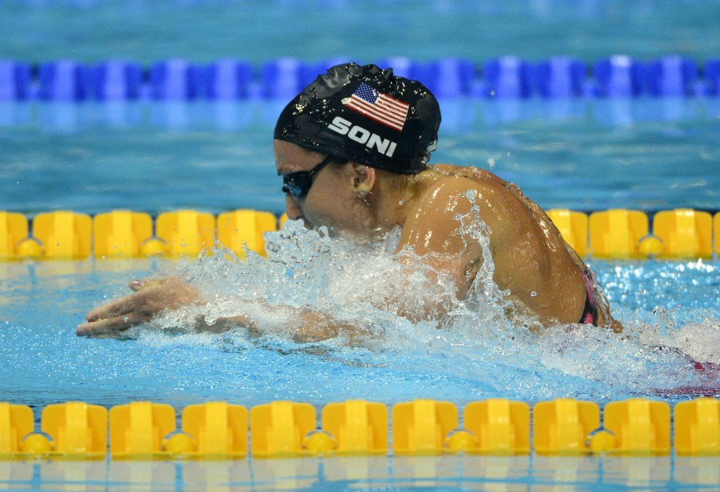 Aug 2, 2012; London, United Kingdom; Rebecca Soni (USA) competes in the women's 200m breaststroke final during the London 2012 Olympic Games at Aquatics Centre. Mandatory Credit: Andrew P. Scott-USA TODAY Sports