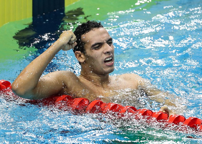 (140821) -- NANJING, Aug. 21, 2014 (Xinhua) -- Gold Medalist Ahmed Mahmoud of Egypt celebrates after the Men's 800m Freestyle of swimming event at the Nanjing 2014 Youth Olympic Games in Nanjing, capital of east China's Jiangsu Province, on Aug. 21, 2014. (Xinhua/Yang Lei)(wyj)
