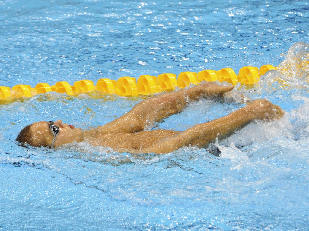 Sep 1, 2012; London, United Kingdom; Dmitrii Kokarev (RUS) swims in the men's 200m freestyle-S2 during the London 2012 Paralympic Games at Aquatics Centre. Mandatory Credit: Andrew Fielding-USA TODAY Sports