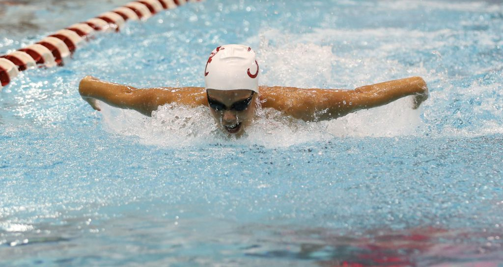 09-12-14 MWSD vs Delta State 400 Medley Relay Kristel Vourna Photo by Amelia J. Brackin
