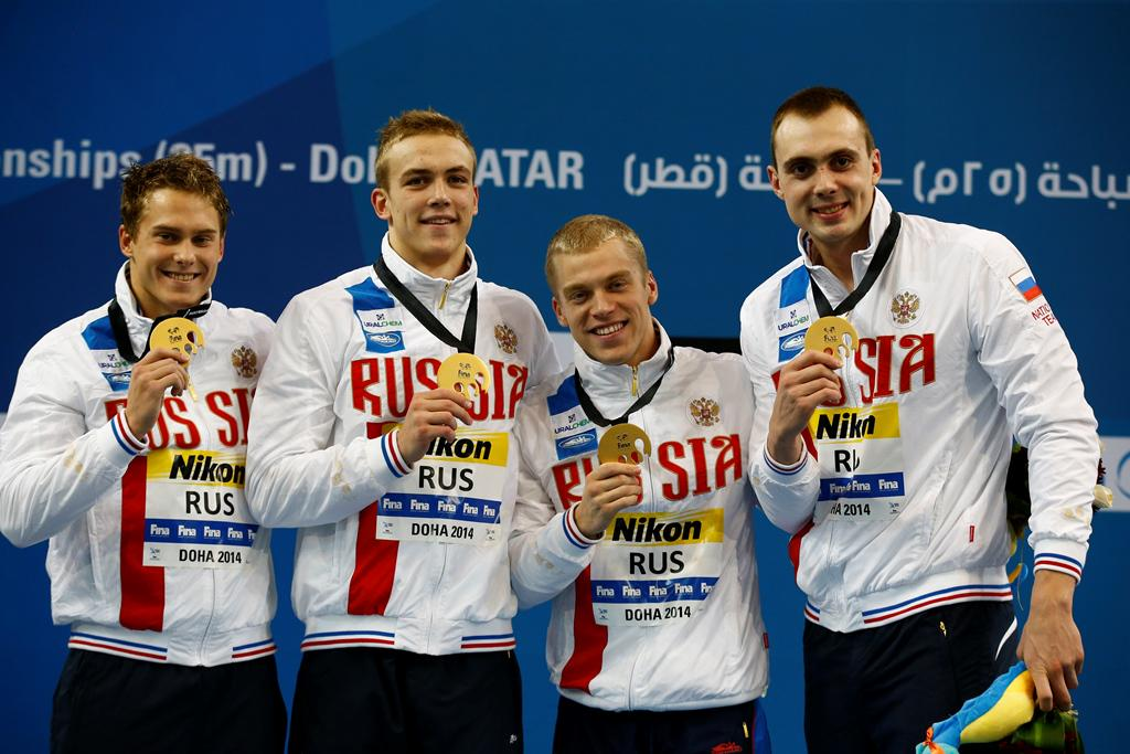 Russia 200 free relay world record at Worlds Doha 2014