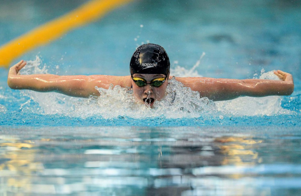 1 May 2015; Ruby Martin, NCSA, on her way to winning the women's A final of the 400m individual medley event, during the 2015 Irish Open Swimming Championships at the National Aquatic Centre, Abbotstown, Dublin. Picture credit: Paul Mohan / SPORTSFILE