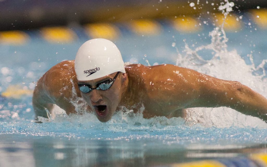 May 15, 2015; Charlotte, NC, USA; Ryan Lochte swims the 100 LC Meter Butterfly during the finals at the Mecklenburg County Aquatic Center. Mandatory Credit: Jeremy Brevard-USA TODAY Sports