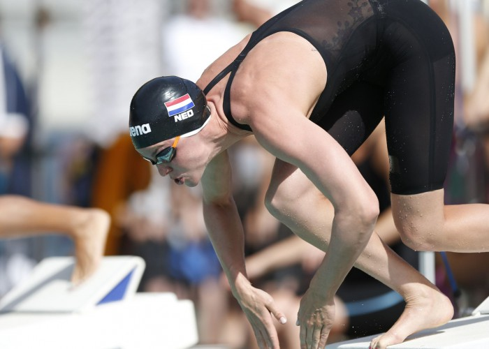 Jun 20, 2015; Santa Clara, CA, USA; Femke Heemskerk (NED) before the start of her prelim heat of the Women 50M Freestyle during the morning session of Day3 at the George F. Haines International Swim Center in Santa Clara, Calif. Mandatory Credit: Bob Stanton-USA TODAY Sports