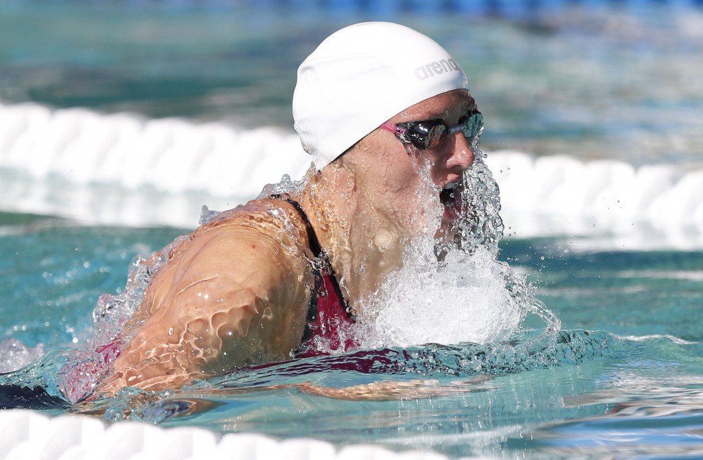 Jun 21, 2015; Santa Clara, CA, USA; Katink Hosszu (HUN) qualified first in the Women's 200IM during the morning session of day four at the George F. Haines International Swim Center in Santa Clara, Calif. Mandatory Credit: Bob Stanton-USA TODAY Sports