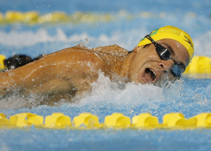 Jul 14, 2015; Toronto, Ontario, CAN; Kaio Almeida of Brazil competes in the men's 200m butterfly swimming preliminaries during the 2015 Pan Am Games at Pan Am Aquatics UTS Centre and Field House. Mandatory Credit: Erich Schlegel-USA TODAY Sports