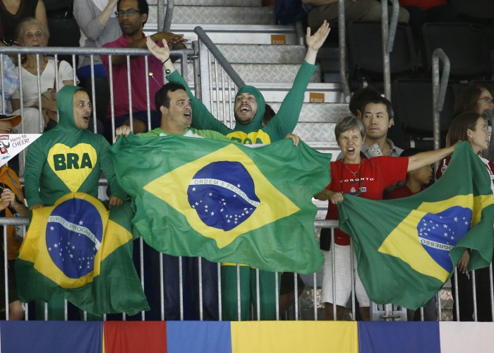 Jul 17, 2015; Toronto, Ontario, CAN; Brazil fans wave flags during the 2015 Pan Am Games at Pan Am Aquatics UTS Centre and Field House. Mandatory Credit: Rob Schumacher-USA TODAY Sports