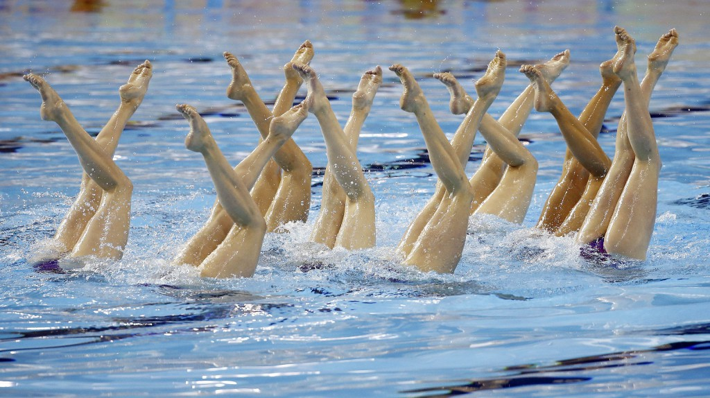 Jul 11, 2015; Toronto, Ontario, CAN; Team Canada competes in team synchronized swimming during the 2015 Pan Am Games at Pan Am Aquatics UTS Centre and Field House. Mandatory Credit: Rob Schumacher-USA TODAY Sports