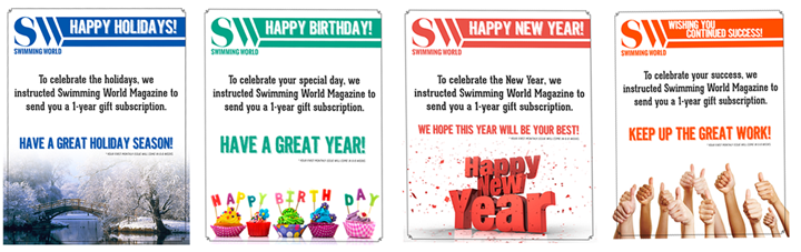 Swimming World Gift Subscription - Magazine subscription gift certificate template