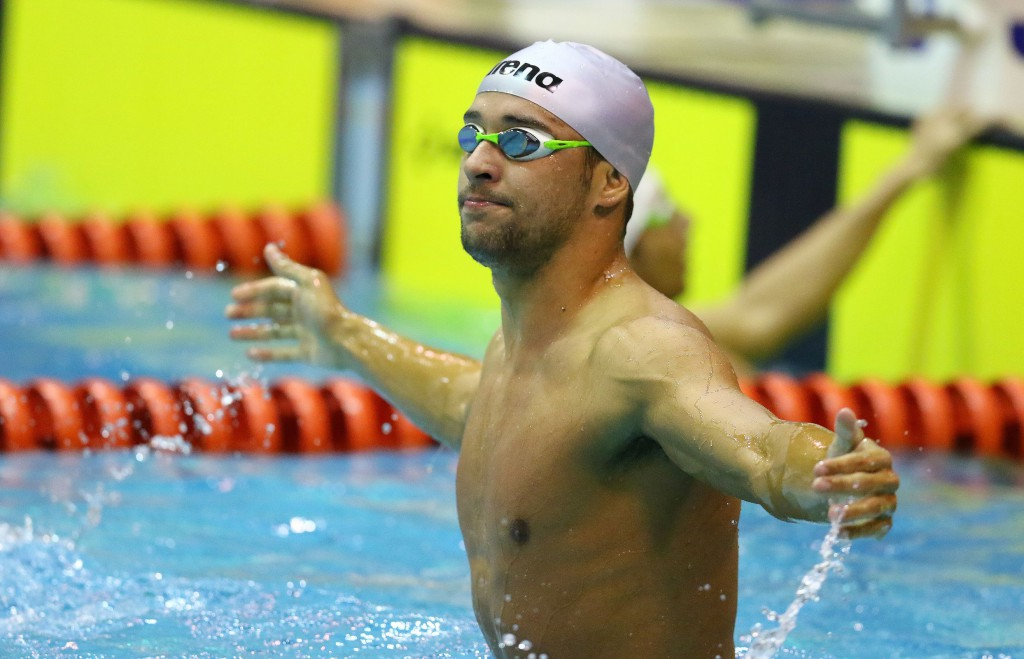 DURBAN, SOUTH AFRICA - APRIL 12: Chad le Clos wins the 200m freestyle finals in Olympic qualifying time during the finals session on day 3 of the SA National Aquatic Championships and Olympic Trials on April 12 , 2016 at the Kings Park Aquatic Center pool in Durban, South Africa. Photo Credit / Anesh Debiky/Swim SA