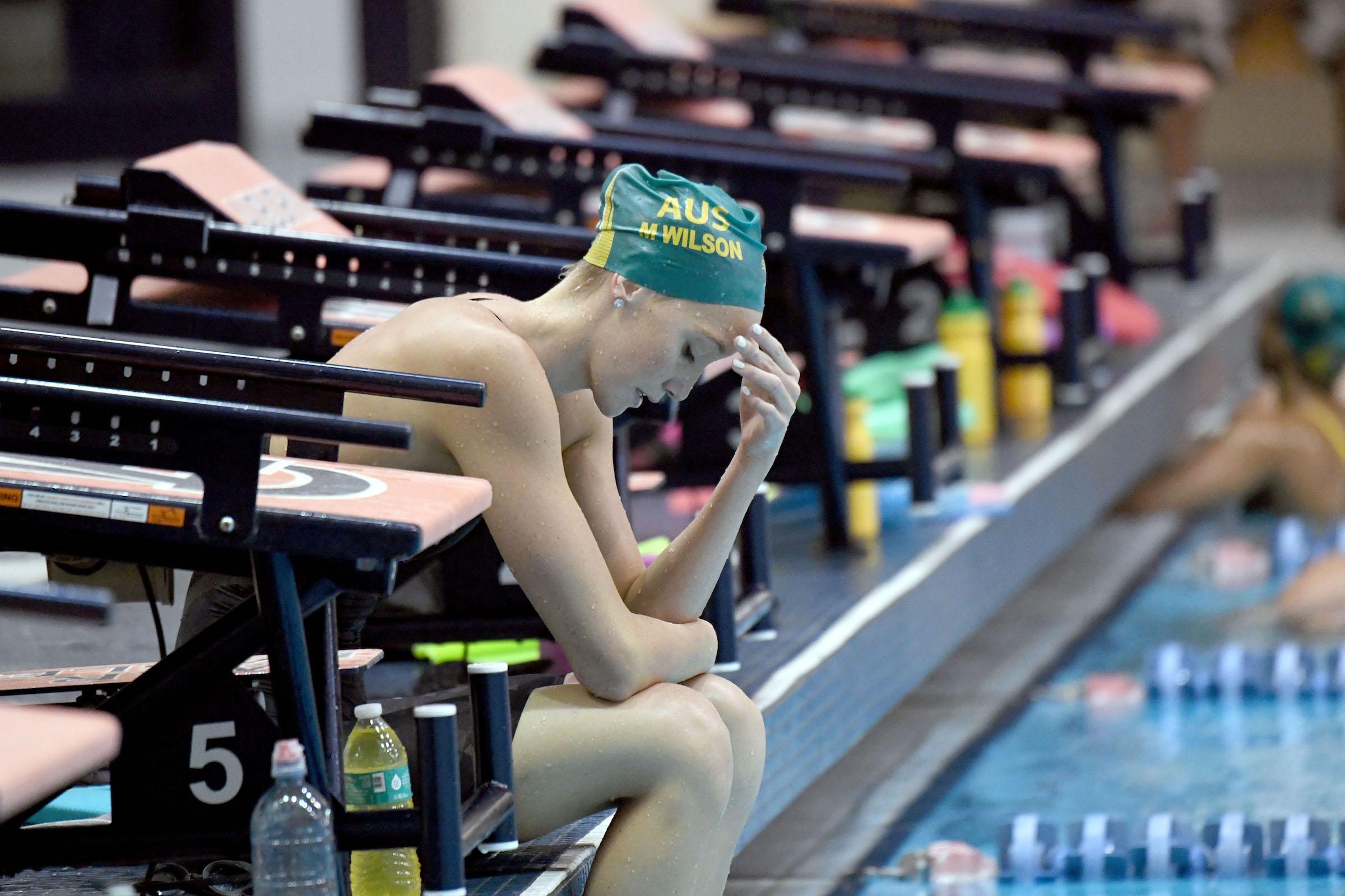 Madi Wilson Showing The Strain Of Another Hard Set Training University Auburn Aquatic