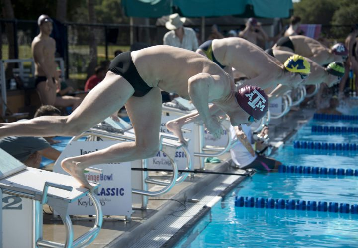 Texas A M Men Duquesne Women Win 2018 Orange Bowl Swim Classic Swimming World News