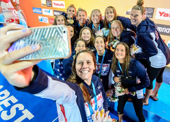28-07-2017: Waterpolo: Amerika v Spanje: Boedapest (L-R) during the Gold medal waterpolomatch between women USA and Spain at the final of the 17th FINA World Championships 2017 in Budapest, Hungary Photo / Foto: Gertjan Kooij