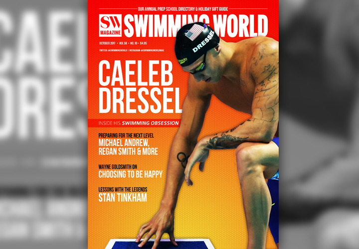 Caeleb Dressel Lights Up October Cover of Swimming World Magazine