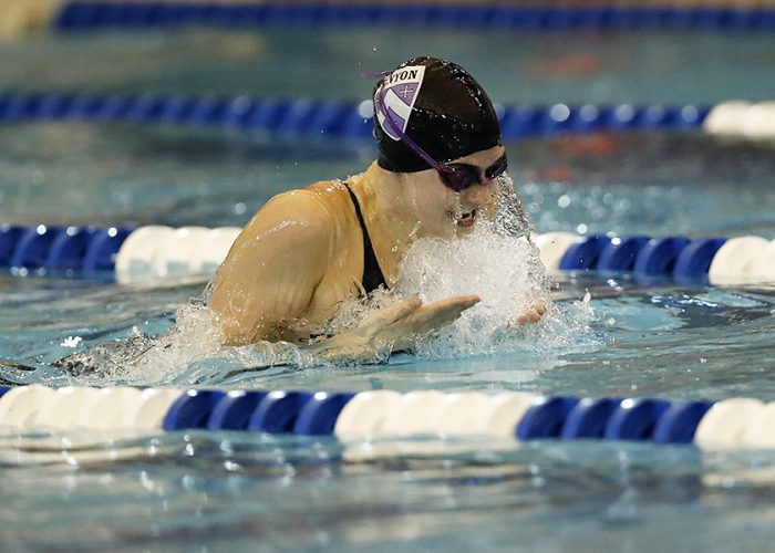 Kenyon College competes during the 2017 NCAA Division III Swimming and Diving Championships at the Conroe Natatorium on Friday March 17, 2017 in Shenandoah, Texas. Photo by Aaron M. Sprecher