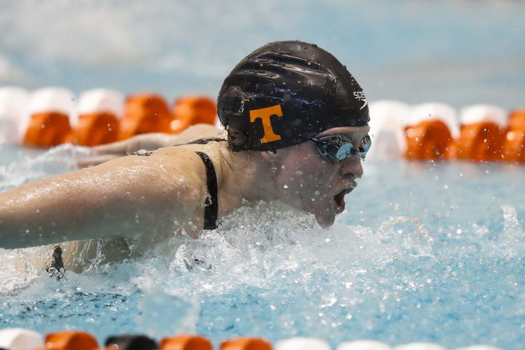 KNOXVILLE, TN - DECEMBER 02, 2017 - Erika Brown of the Tennessee Volunteers during the Day 3 preliminary session during the Tennessee Invitational at the Allan Jones Intercollegiate Aquatic Center in Knoxville, TN. Photo By John Golliher/Tennessee Athletics