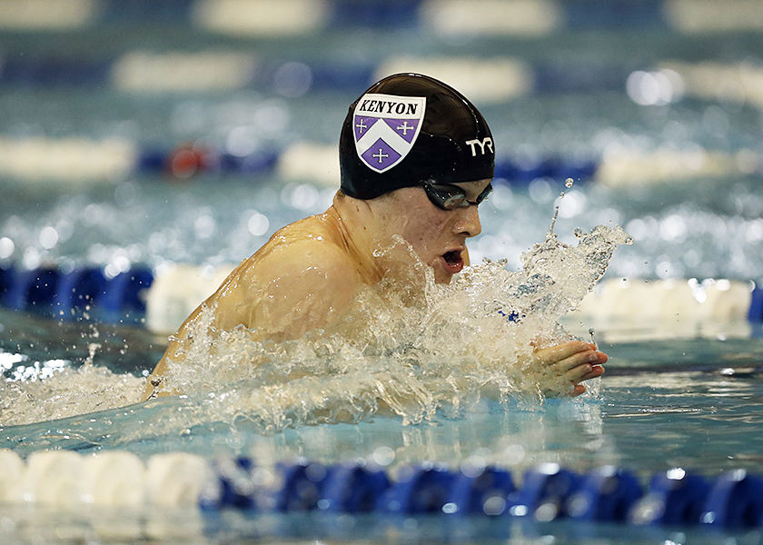 Kenyon College competes during the 2017 NCAA Division III Swimming and Diving Championships at the Conroe Natatorium on Saturday March 18, 2017 in Shenandoah, Texas. Photo by Aaron M. Sprecher