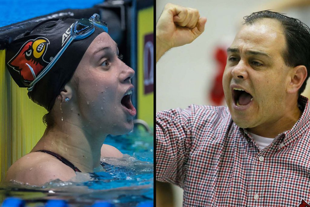 mallory comerford, arthur albiero, university of louisville, acc swimming championships