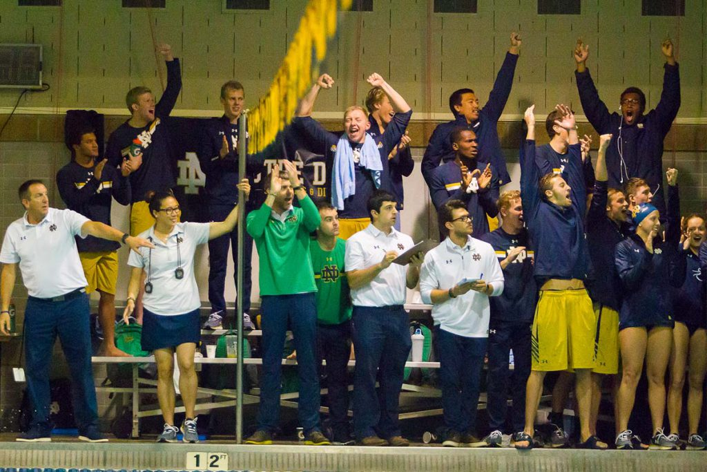 notre-dame-swimming-team-excited