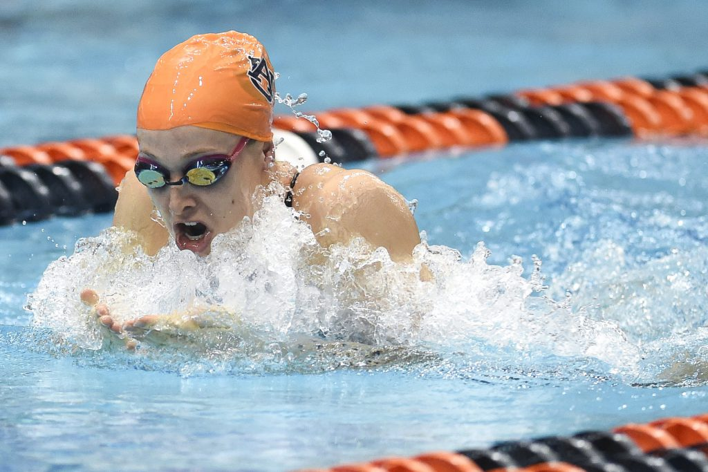 Natasha Lloyd in the 100 yard Breaststroke preliminaries. SEC Championship Swimming and Diving at the James E. Martin Aquatic Center in Auburn, Ala. on Friday, Feb. 20, 2015. Zach Bland/Auburn Athletics