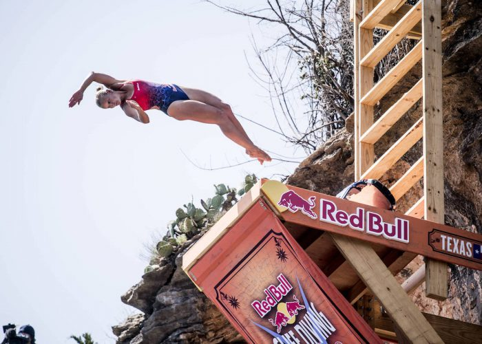 Rhiannan Iffland of Australia dives from the 21 metre platform during the final competition day of the first stop at the Red Bull Cliff Diving World Series in Possum Kingdom Lake, Texas, USA on June 2, 2018. // Dean Treml/Red Bull Content Pool // AP-1VUY3NFC52111 // Usage for editorial use only // Please go to www.redbullcontentpool.com for further information. //