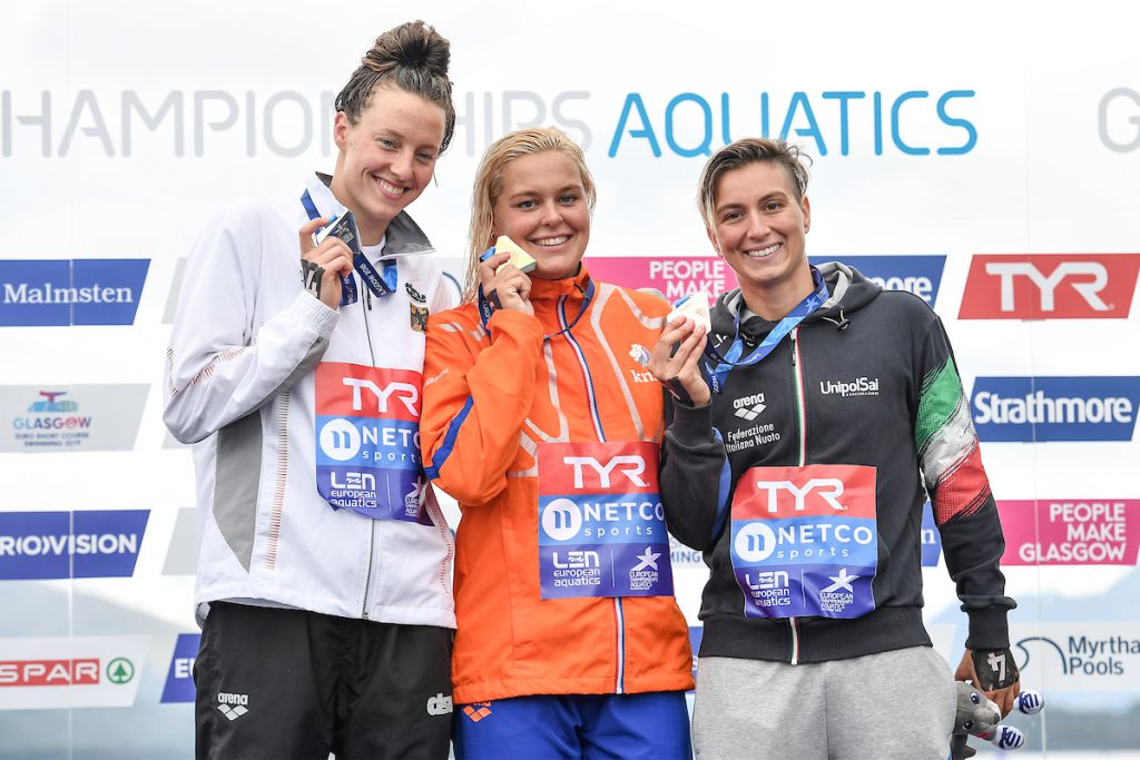 VAN ROUWENDAAL Sharon NED Gold Medal BECK Leonie Antonia GER Silver Medal BRUNI Rachele ITA Bronze Medal 5km Women Glasgow 08/08/2018 Open Water Swimming Loch Lomond and The Trossachs National Park LEN European Aquatics Championships 2018 European Championships 2018 Photo Andrea Staccioli /Deepbluemedia /Insidefoto