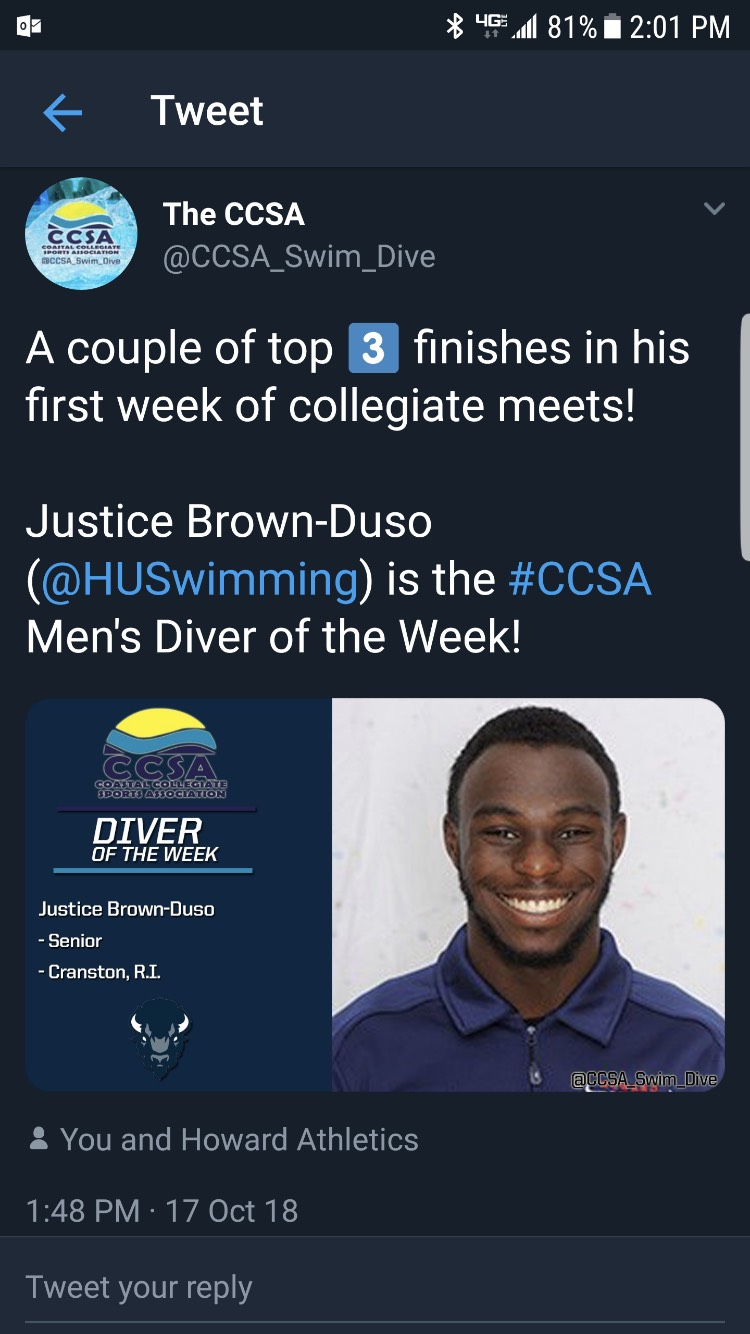 Transfer Justice Brown-Duso Men's Diver of the Week
