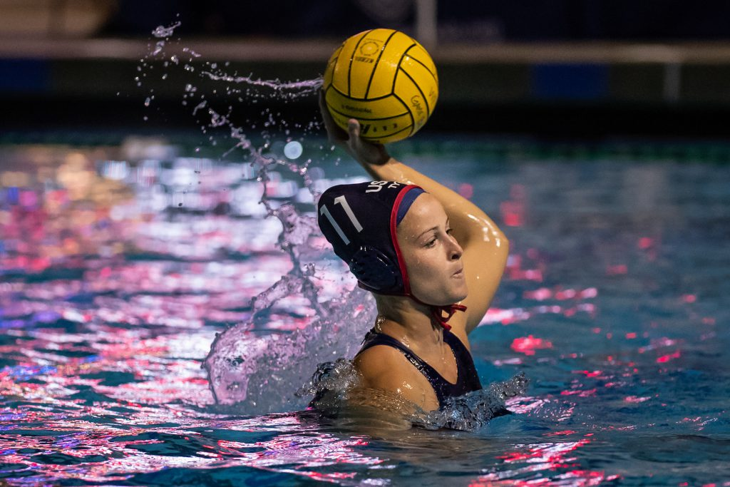 December 14, 2018; Torrance Aquatic Center, Torrance, CA, USA; USA Water Polo Women's Exhibition Series: USA vs China; USA Stephania Haralabidis takes a 5 meter Photo credit: Catharyn Hayne